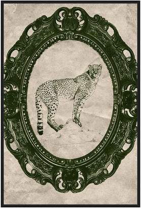 Jonathan Bass Studio Framed Cheetah In Evergreen, Decorative Framed Hand Embellished Canvas