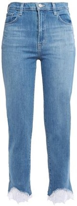 J Brand Cropped Lace-trimmed Mid-rise Slim-leg Jeans