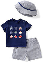 Little Me Baby Boys 3-12 Months Americana Star-Print Top, Striped Shorts, & Hat Set