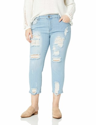 Cover Girl Women's Skinny Jeans Distressed Fray Hem Cropped Light Inseam 11 Junior