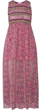 Anna Sui Smocked Printed Silk-Georgette Midi Dress