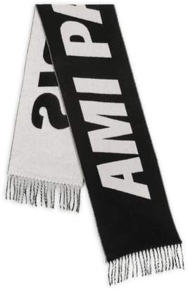 Ami Paris Fringed Logo Scarf