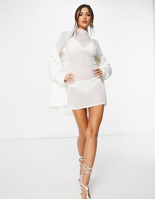 I SAW IT FIRST high neck mesh bodycon dress in white