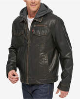 Levi's Men's Faux Leather Trucker Jacket with Bib & Hood
