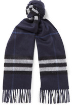 Burberry Checked Cashmere Scarf - Navy