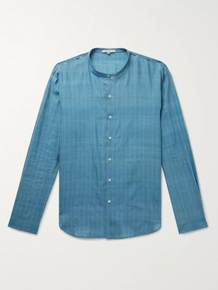 11.11/eleven eleven - Virgo Grandad-Collar Indigo-Dyed Embroidered Striped Slub Cotton Shirt - Men - Blue