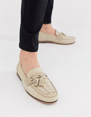 Asos Design DESIGN loafers in stone leather with woven detail