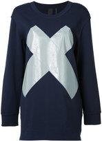 Norma Kamali reflective 'x' boyfriend sweatshirt - women - Cotton/Polyester/Spandex/Elastane - M
