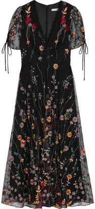 ML Monique Lhuillier Embroidered Flocked Tulle Midi Dress