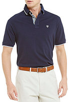 Daniel Cremieux Solid Stretch Pique Print Trim Short-Sleeve Polo Shirt