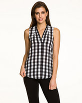 Le Château Gingham V-Neck Sleeveless Blouse