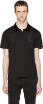 Alexander McQueen Black Embroidered Polo