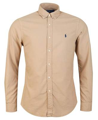 Polo Ralph Lauren Garment Dyed Slim Fit Oxford Shirt Colour: TAN, Size