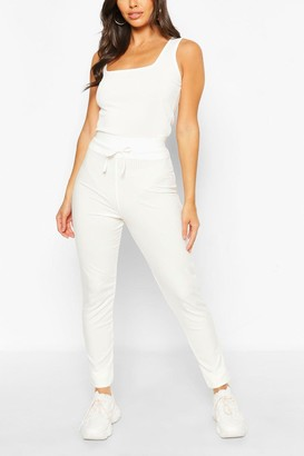 boohoo Petite High Waist Drawcord Leggings