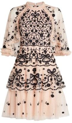 Needle & Thread Caped Bonnie Bow Mini Dress