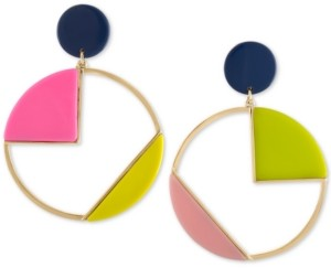 Rachel Roy Gold-Tone Multicolor Geometric Circle Clip-On Drop Earrings