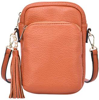 Mellow World Women's Crossbodies Cognac - Cognac Tassel-Accent Remi Mini Crossbody Bag