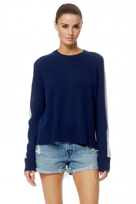360 Cashmere Navy White Talulah Cashmere Sweater - Large