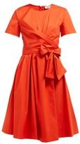 Diane von Furstenberg Quinn Tie-waist Stretch Cotton-poplin Dress - Womens - Orange