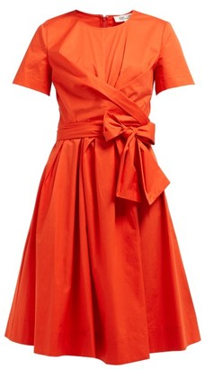 Diane von Furstenberg Quinn Tie-waist Stretch Cotton-poplin Dress - Womens - Orange