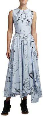 Alexander McQueen Dancing Girl Print Silk Dress