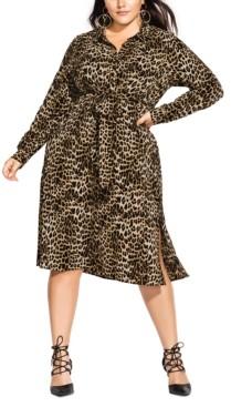 City Chic Trendy Plus Size Leopard-Print Shirtdress