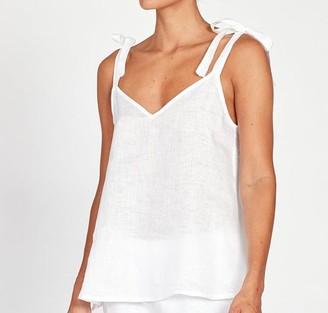 Hesper Fox - Anais Linen Camisole In White - extra-small