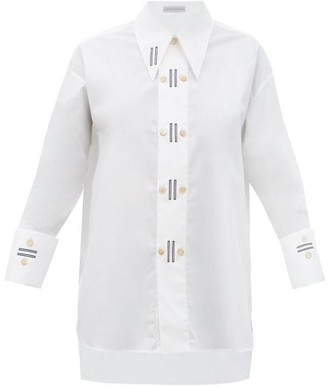 Palmer Harding Marcai Embroidered Point-collar Cotton-blend Shirt - White