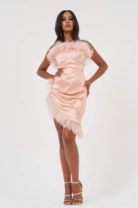 Club L Womens **Bandeau Feather Mini Dress By Pink
