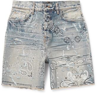 Amiri Wide-Leg Distressed Bandana-Print Denim Shorts