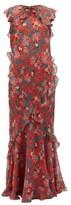 Saloni Tamara-b Monkey-print Frilled Silk Dress - Womens - Red Multi