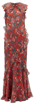 Saloni Tamara-b Monkey-print Frilled Silk Dress - Red Multi