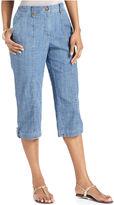 Karen Scott Pants, Straight-Leg Chambray Capris