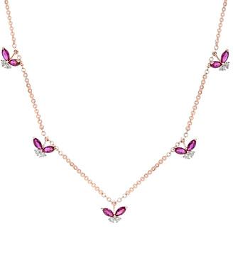Diana M Fine Jewelry 18K Rose Gold 0.83 Ct. Tw. Diamond & Ruby Necklace