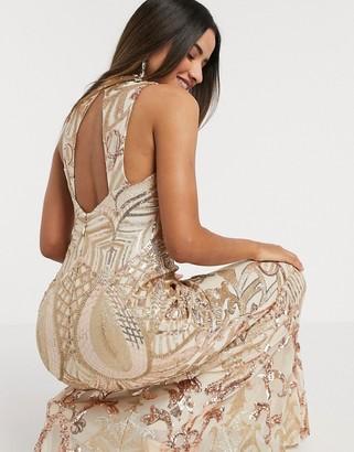 Goddiva Godddiva high neck sequin maxi dress in gold