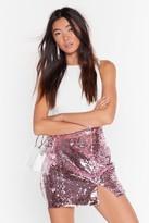 Nasty Gal Womens Slit's Disco Night Sequin Mini Skirt - pink - 4, Pink