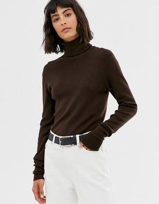 Weekday roll neck top in dark brown