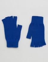 Asos Fingerless Gloves In Cobalt Blue