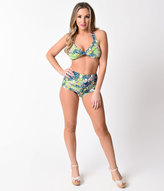 Esther Williams Retro Style Green Paradiso High Waist Swim Bottom
