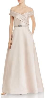 Eliza J Belted Off-the-Shoulder Gown
