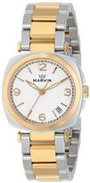 Marvin Women's M022.32.34.32 Cushion Analog Display Swiss Quartz Two Tone Watch