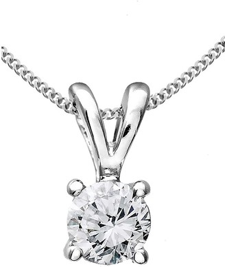 Love Diamond 9 Carat White Gold 33 Point Diamond Solitaire Necklace