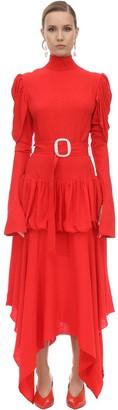 MATÉRIEL Belted Viscose Crepe Midi Dress