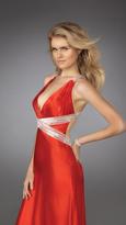 La Femme Sexy Beaded V-Neck Long Sheath Dress 13277