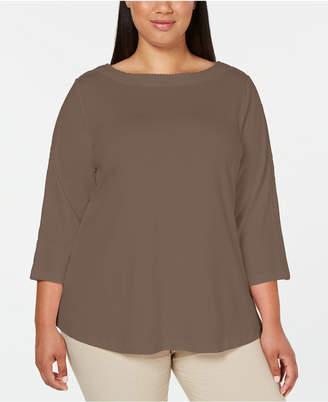 Karen Scott Cotton Plus Size Lace-Trim Top