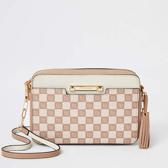 River Island Beige RI monogram boxy cross body bag