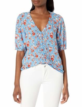 Lucky Brand Women's Short Sleeve Scoop Neck Floral Printed Pintuck Top