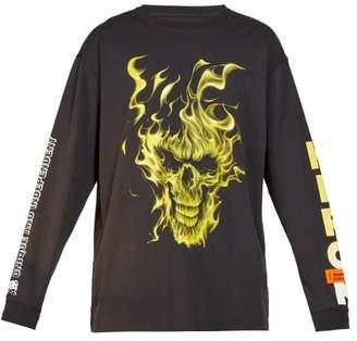 Heron Preston Flaming Skull-print Cotton T-shirt - Mens - Black Multi
