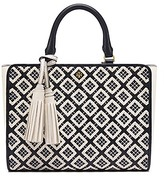 Tory Burch Robinson Woven-Leather Small Zip Tote