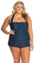 Jessica Simpson Plus Size Seashells Front Shirred Bandeau Swimdress 8124040